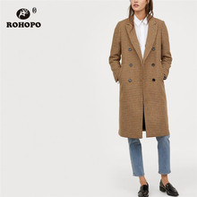 ROHOPO Double Breast Buttons Plaid Notched Collar Knee Length Blend Coat Thin Striped Autumn Asymmetric Straight Overcoat #9297