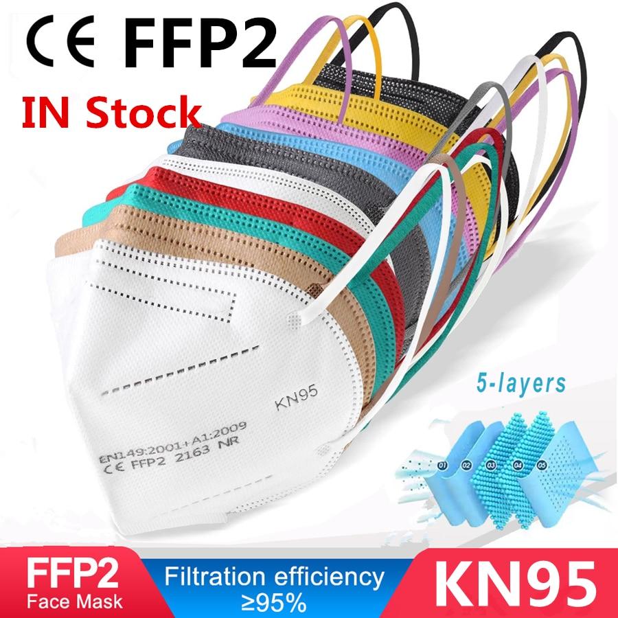M scara respiradora FFP2 KN95 de 5 capas para adultos mascarilla facial FFP3 con filtro a