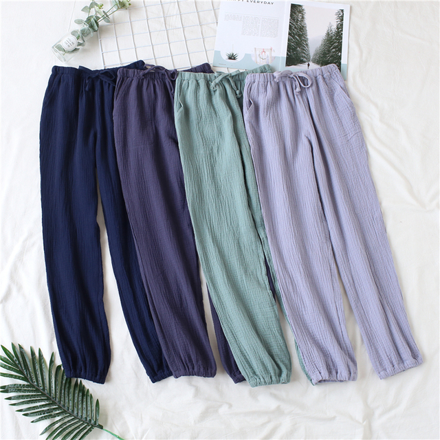 Japanese pajamas men and women spring and autumn home pants cotton washed double gauze loose comfortable trousers casual pants