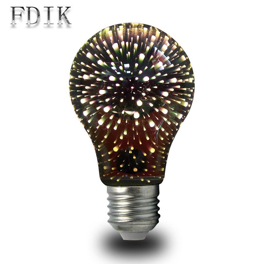 3D Stars Fireworks Effect LED Night Light A60 110V 220V 4W Energy-efficient Light Led Bulbs E27 Bar Party Holiday Decor Lighting