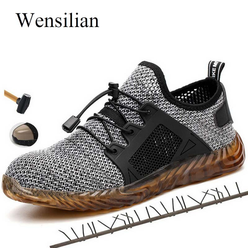 Steel Toe Work Shoes Indestructible Shoes Men And Women Safety Boots Puncture-Proof Sneakers Breathable Shoes Botas Hombre 2019