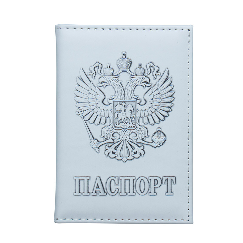 Jiexi White Russian Double-headed Eagle Emblem Passport Cover Case ID Ticket Holder Passport Wallet Travel Accessories ZSPC42