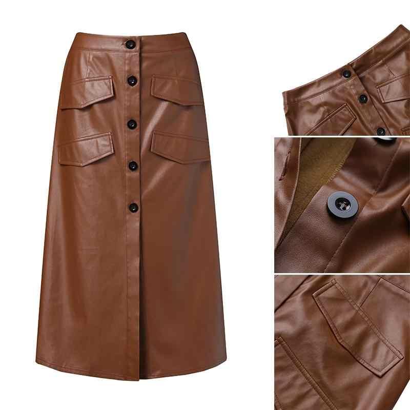 Femmes surdimensionnées PU cuir Vestidos ZANZEA 2020 élégant bouton jupes taille haute fendu poches Midi jupes femme solide Robe