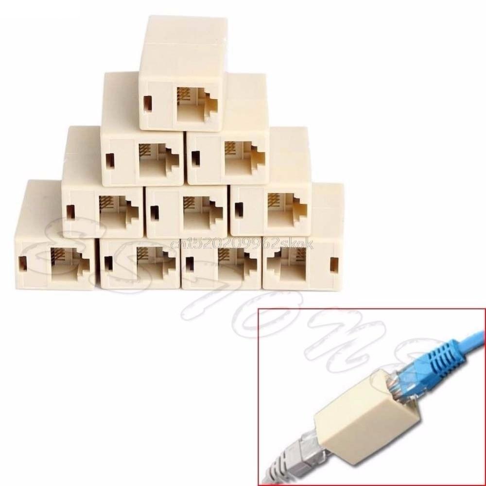 10pcs RJ45 CAT5 Coupler Plug Network LAN Cable Extender Connector Adapter