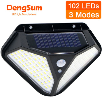 2side 102LED PIR Motion Sensor Solar Energy Street lamp 3 lighting modes Yard Path Home Garden Solar Power Induction Wall Light