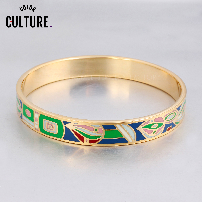 Elegante Designer gefüllte Farbe Armreifen für Frauen Edelstahl Schmuck Ethnischer Schmuck Emaille für Armbänder