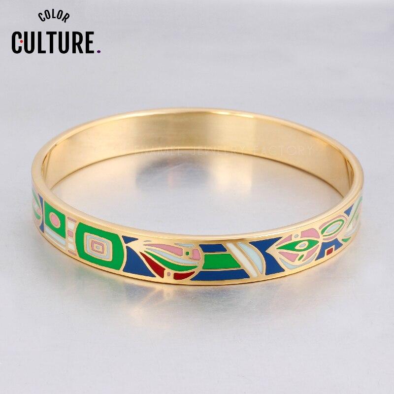 Pereka Warna yang Diisi Pereka Elegan untuk Wanita Perhiasan Keluli Tahan Karat Enamel Perhiasan Etnik untuk Gelang