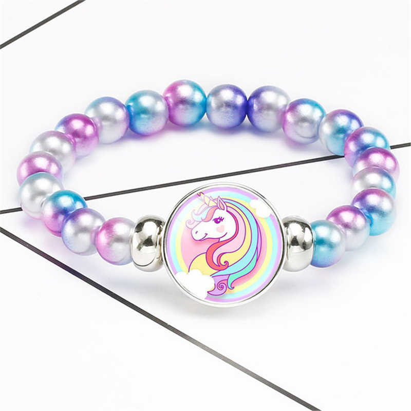 Children Girl Boy Star Printing Colorful children's unicorn bracelet Wristband Flexible Wrap Slap Bracelet Animal Enfant Bangle