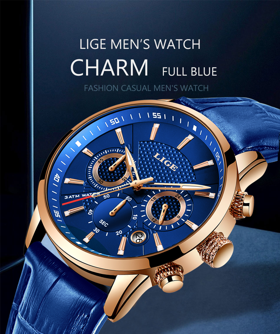 Hbb9fef6ef6e04717aa5b29524b160243G LIGE New Men Watch Top Brand Blue Leather Chronograph Waterproof Sport Automatic Date Quartz Watches For Mens Relogio Masculino