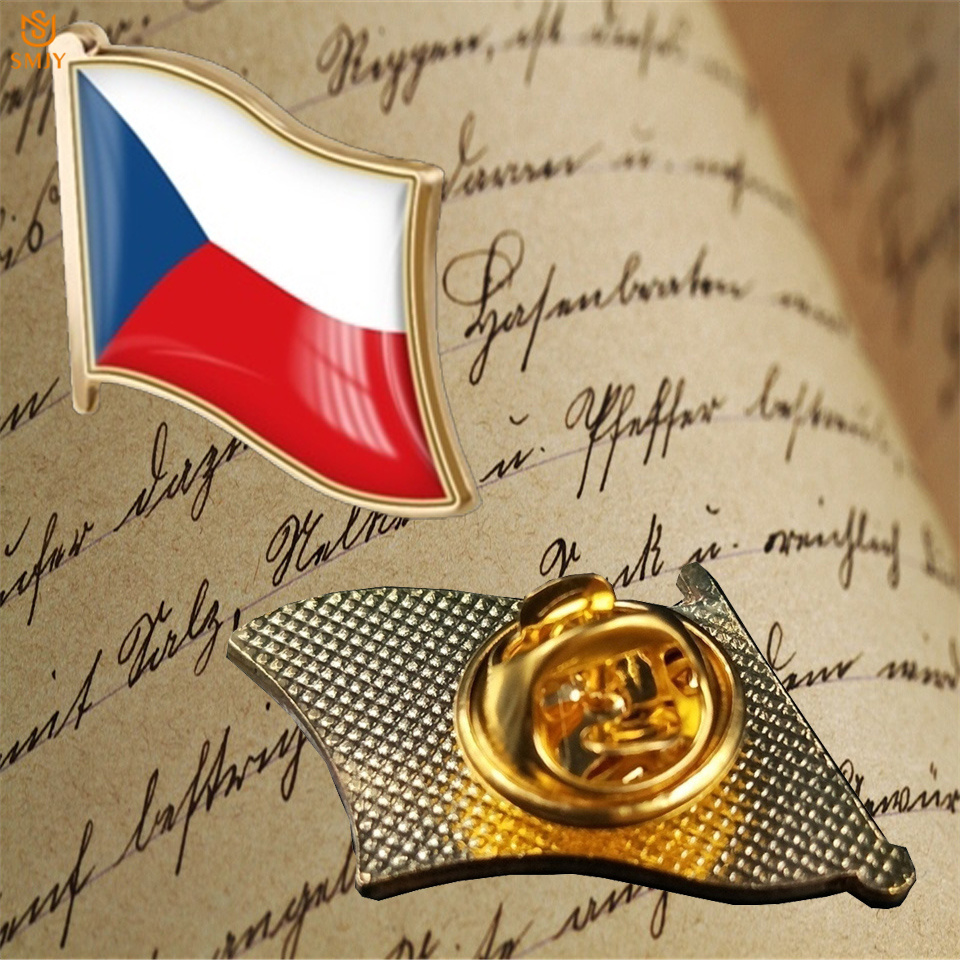 Czech Republic National Waving Enamel Flag Brooch Pin Lapel Costume Accessories Jewelry Badge Souvenir Gift