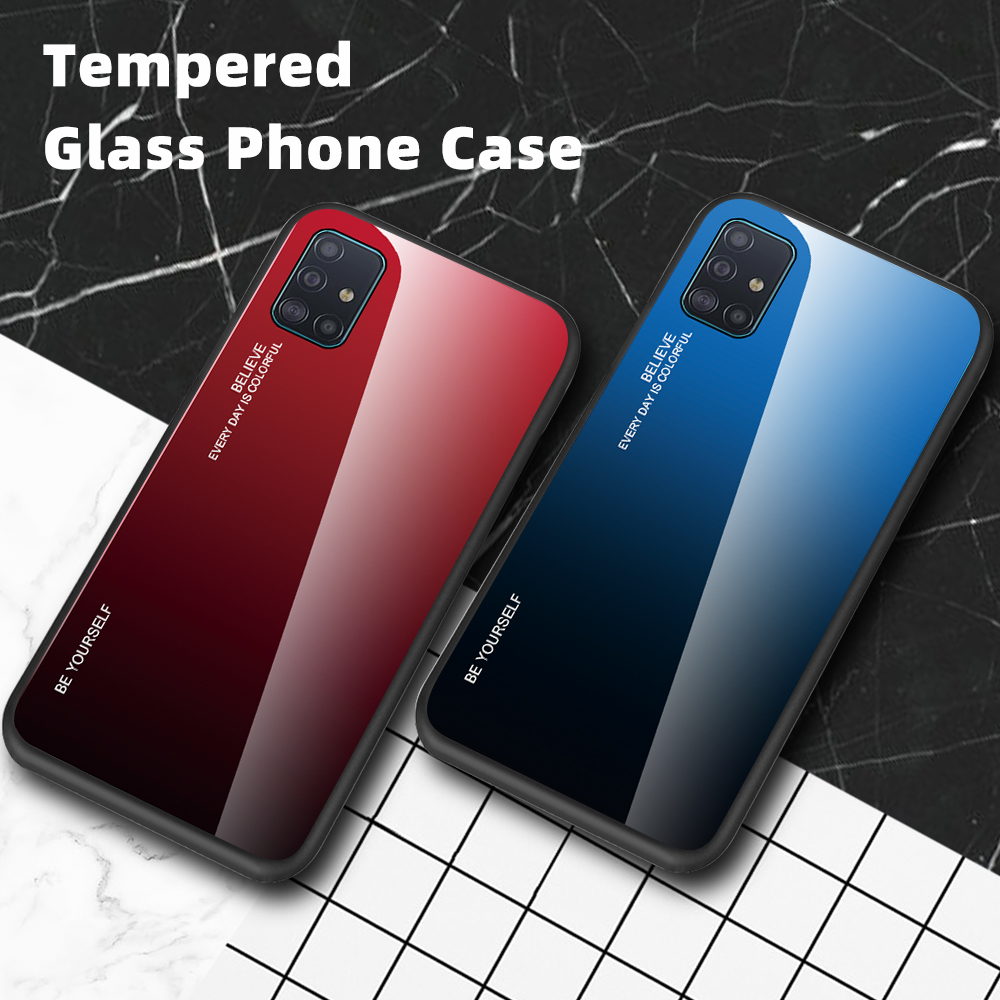 Tempered Glass Cases For Samsung Galaxy A51 Case A51 A71 A515 A715 Back Gradient Color Bumper On For Samsung A51 A71 2019 Case