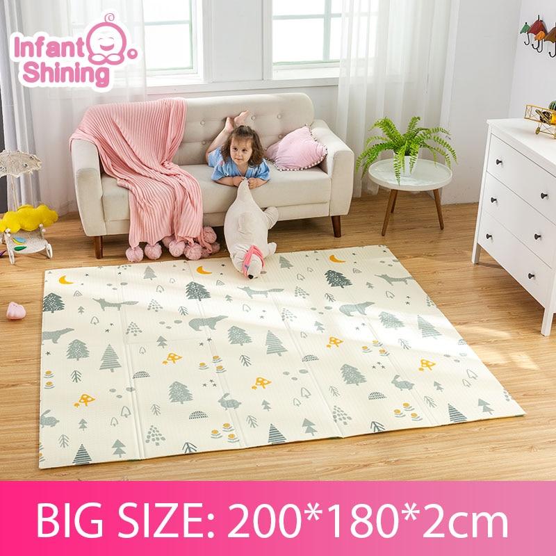 Infant Shining 2CM Baby Mat Play Mat For Kids 180*200*2cm Playmat Thicker Bigger Kids Carpet Soft Baby Rugs Crawling Floor Mats