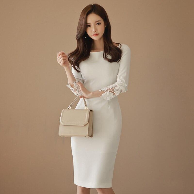 Grosso quente outono inverno novo elegante formal festa vestido de renda manga branca magro bainha vestido escritório senhora trabalho primavera