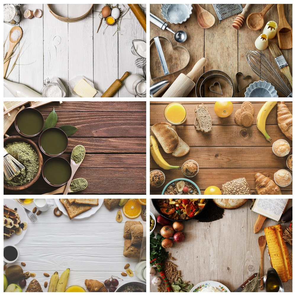Laeacco Gray Wooden Boards Kitchen Tools Egg Wallpaper Pet Doll Portrait Photo Backgrounds Photography Backdrops Photo Studio