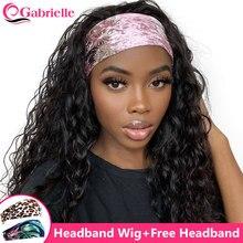 Parrucca all'ingrosso della fascia parrucche della sciarpa dell'onda dell'acqua dei capelli umani per le donne nere mezza parrucca corta capelli brasiliani di Remy densità del 150