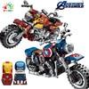 NEW Kids Toys Mini Figures  Red Iron Man Motobike Building Blocks Avengers Super Heroes Blue Captain Toys For Children Gifts
