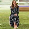 Кейт Миддлтон высокое качество 2020 осень Новый стиль женские модные вечерние повседневные Элегантные Gentlewoman в горошек печати платье миди