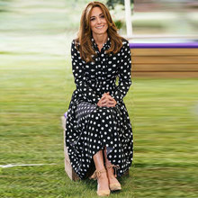 Kate middleton alta qualidade 2020 outono novo estilo das mulheres moda festa casual elegante senhora polka dot impressão midi vestido