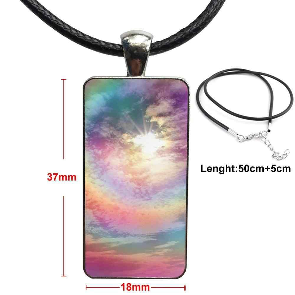 Baltic Regenbogen Abstrakte Tie Dye Für Mädchen Schmuck Mit Stahl Überzogene Glas Cabochon Choker Lange Anhänger Rechteck Halskette