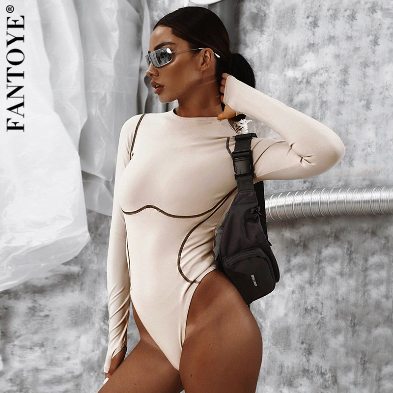 Fantoye Sexy Long Sleeve Bodysuits Women Striped 2019 Autumn Basic Bodycon Jumpsuits Rompers Khaki Elastic Casual Bodysuit Tops