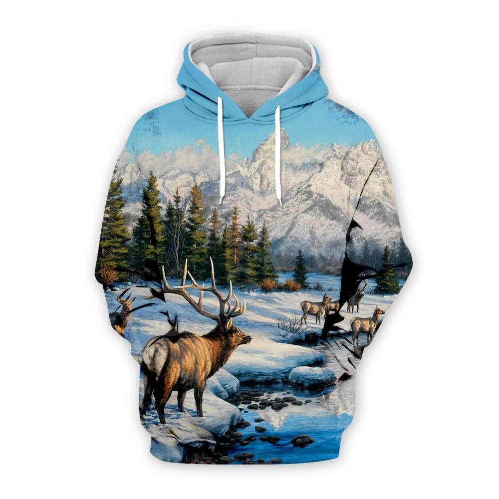 Tessffel Animal Wild Deer Hunting Hunter Pullover Tracksuit Unisex Casual MenWomen 3DPrint Zipper/Sweatshirts/Hoodies/Jacket S13