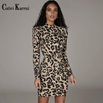 Catei Karrui French popular fashion print long sleeve dress 2020 autumn new hip Sexy Leopard Snake Print