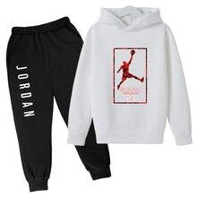 child Sweatshirt Hip-Hop kid Hooded Hoodies Pullover Hoody 2021 Autumn New Arrival High JORDAN 23 Printed Sportswear suit