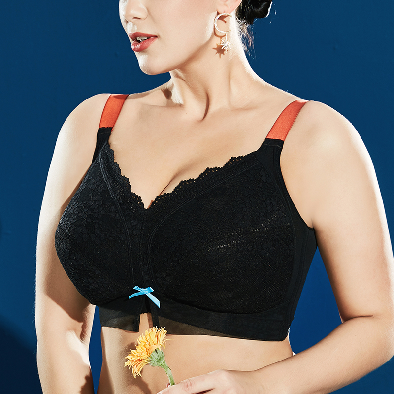 Sexy Lace Embroidery Suppotive Minimizer Bras For Women Full Coverage Non-padded Wire-free Underwear For Big Breast Womens 46 H