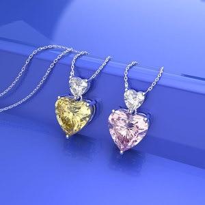 Image 4 - Wong Regen Romantische 100% 925 Sterling Zilver Liefde Hart Moissanite Citrien Sapphire Edelsteen Hanger Ketting Sieraden Groothandel