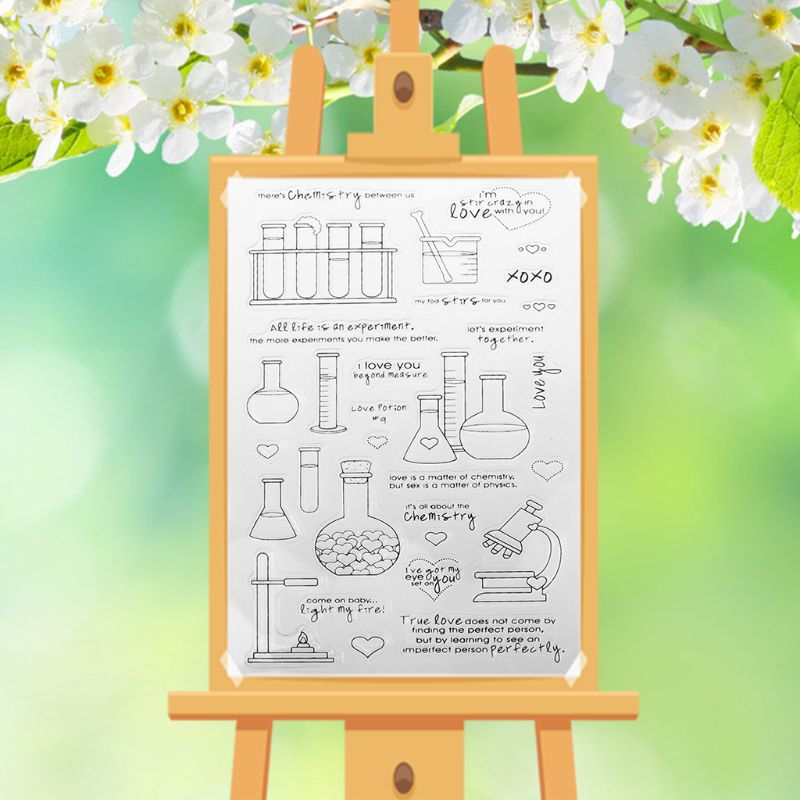 Chemistry DIY Silicone Clear Stamp Cling Seal Scrapbook Embossing Album Decor H7EC