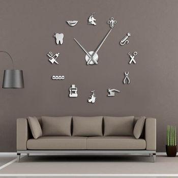 Dentist DIY Giant Wall Clock Dental Doctor Oversized Wall Clock Big Needle Mirror Dentist Office Decor Dentist Gift Doctor Art 1