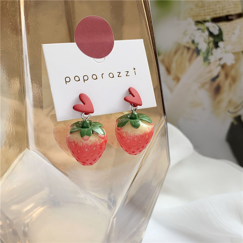 Modne kolczyki w kształcie serca truskawkowe kolczyki netto czerwone kolczyki damskie seria owoców kolczyki biżuteria akcesoria