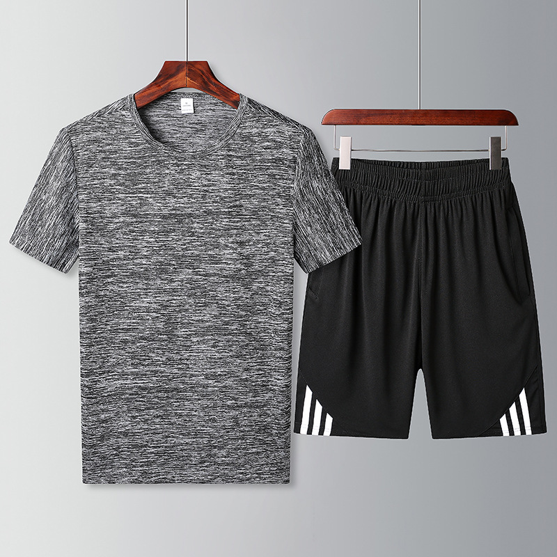Men's Summer Short Sleeve T-shirt Suit Plus-sized Menswear Loose-Fit Quick-Dry Breathable Leisure Sports Suit Two-Piece Set Thin