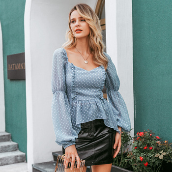 Simplee Sexy polka dot ruffle blouse women Casual square collar lantern sleeve chiffon blouse Female elegant solid slim blouse