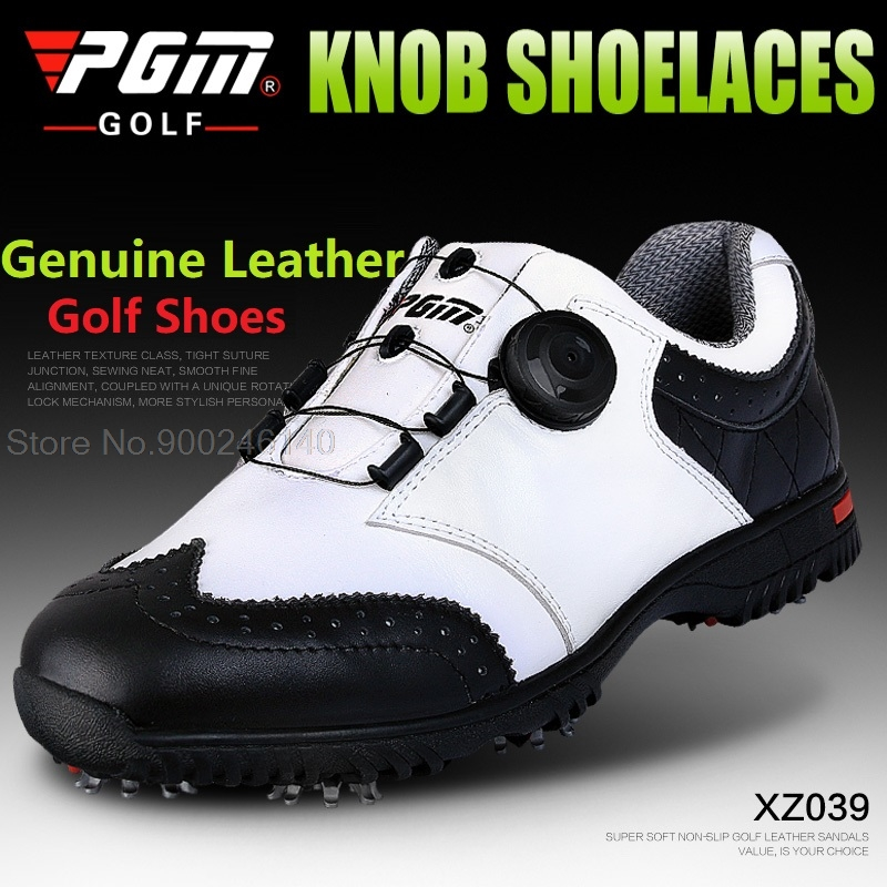 2020 Pgm Golf Shoes Men Genuine Leather Waterproof Sneakers Male Nail Antiskid Shoes Knob Buckle Sports Trainers Shoes