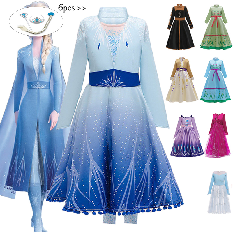 New Anna Elsa Dresses For Girls Carnival Costume Kids Dresses Children Christmas Cosplay Birthday Party Dresses 4 <font><b>6</b></font> <font><b>10</b></font> <font><b>12</b></font> Years image