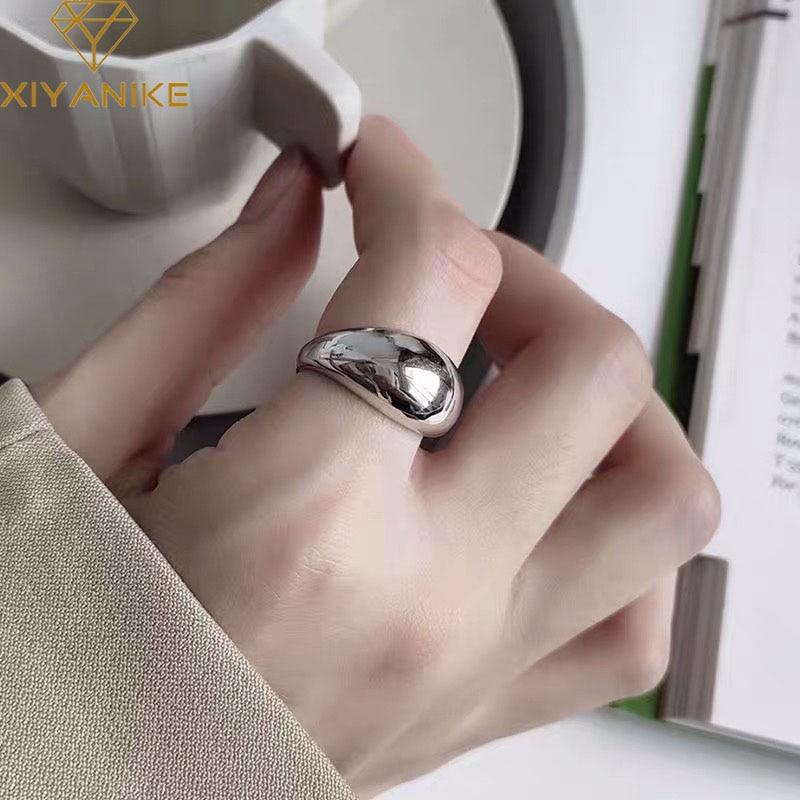 XIYANIKE-bagues de fiançailles en argent Sterling 925 pour femmes, bijou géométrique minimaliste, fait à la main, cadeau danniversaire