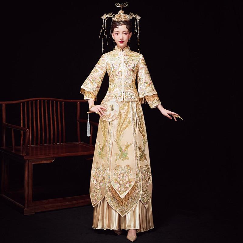 Champange Embroidery Phoenix Chinese Women Dress Luxury Long Sleeve Toast Clothing Noble Mandarin Collar Qipao Vestidos