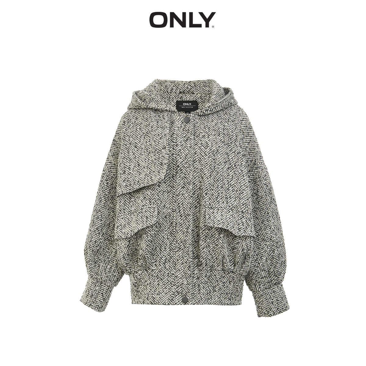 のみ秋冬女性の loose fit hooded ウールコート | 11936T506