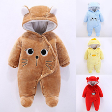 цена на 2019 New Winter Lucky Child Newborn Baby Girl Clothes 0-3 Months Romper Kid Thick Warm Clothes Class A Children Foot Romper B1