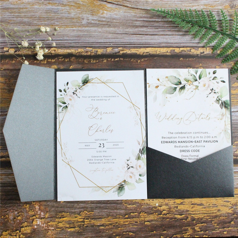 Black Wedding Invitation Card Tri-Fold Pocket Shimmer Country Party Invites Personalized Design Multi Colors