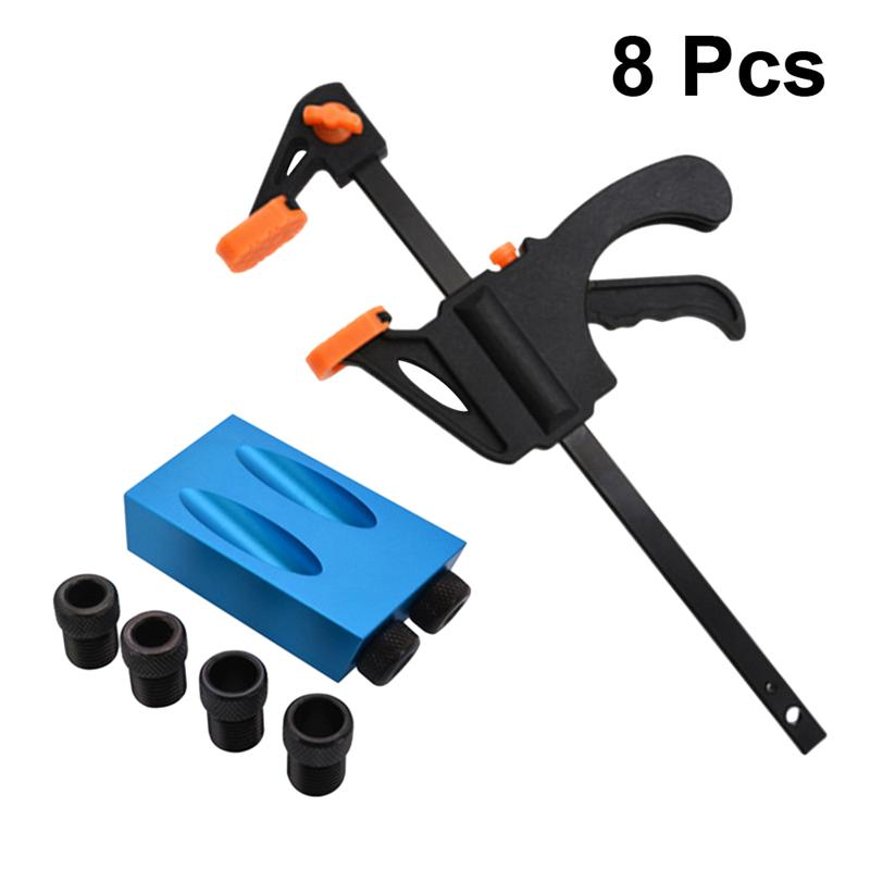 8PCS Inclined Hole Locator 15 Degree Oblique Angle Hole Locator Drilling Puncher Practical Woodworking Tool Set