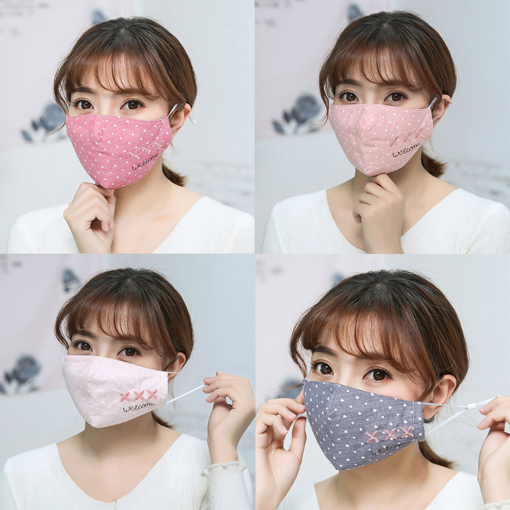 4PCS PM2.5 Anti Haze Maske Anti Dust Mouth Maske Activated Carbon Filter Mouth-muffle Maske Anti-ultraviolet Letter Print Maske