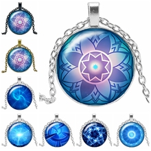 2019 New Hot Ocean Kaleidoscope Series Glass Cabochon Jewelry Pendant Necklace Fashion Gift