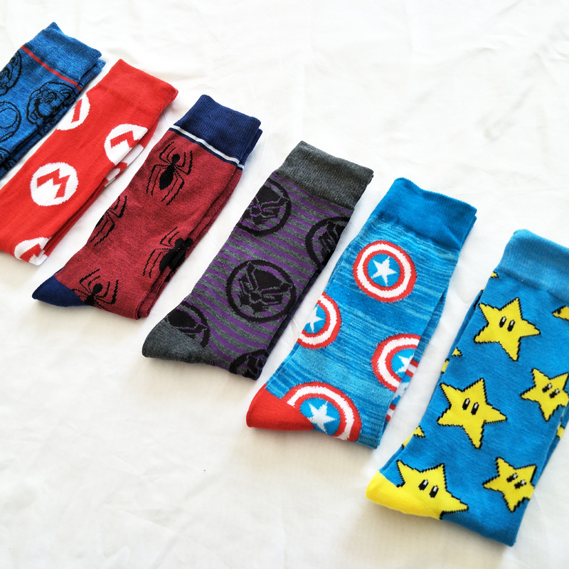 Cartoon Marvel Comics Hero Super Mario Sock Spider Man Black Panther Men Happy Spring Colorful Comfort Breathable Knee-high Sock