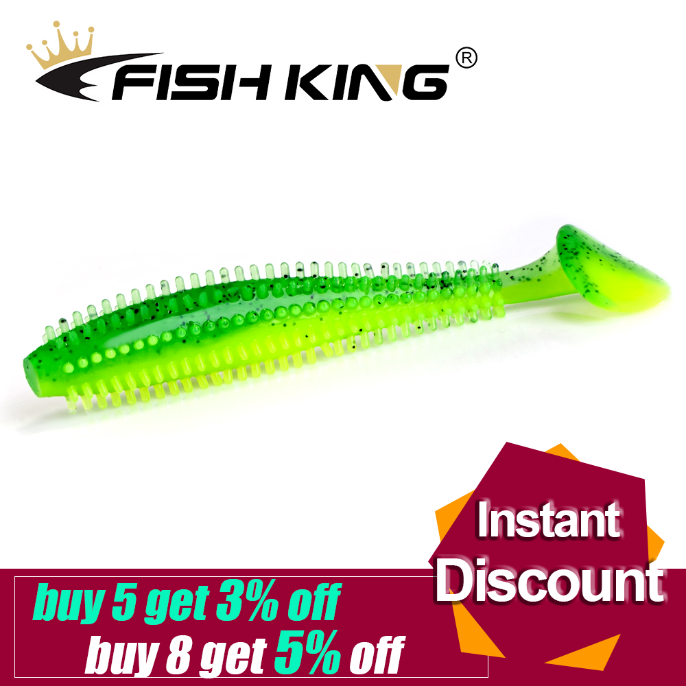 FISH KING Hedgehog Spiky Shad 90mm 120mm Fishing Soft Lure Sea Cucumber Paddle Grub Worm Silicone Wobbler Cylindrical Shad Baits