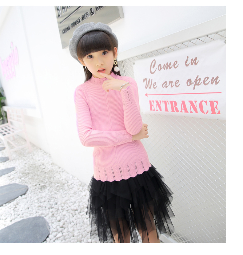 Girl'S Sweater 2018 Spring Childrenswear Knit Low Waist Jersey Solid Color Pullover Children Cotton Knitwear