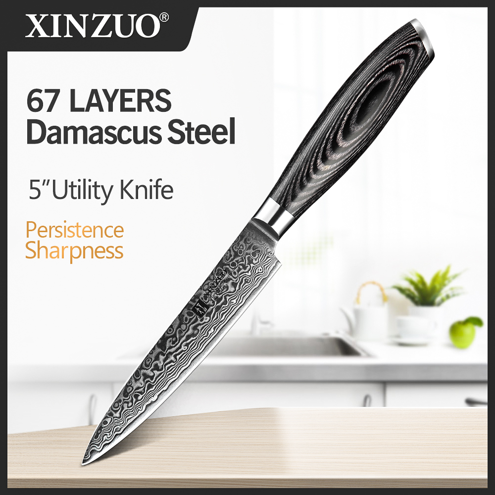 XINZUO 5 inch Utility Knife Profesional Japanese Damascus Steel Kitchen Knife Multi purpose Cutter Knives with