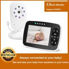 Mais novo monitor do bebê, 3.5 polegada tela lcd infantil câmera de visão noturna, áudio em dois sentidos, sensor de temperatura, modo eco, canções de ninar