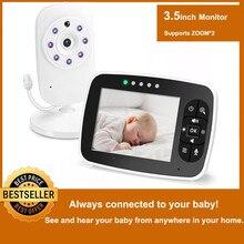 Беспроводная видеоняня, 3,5 дюймовый ЖК-экран, камера ночного видения для младенцев, двухстороннее аудио, датчик температуры, эко-режим, колы...